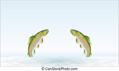 Video animation of illustration trouts jumping nature  background motion