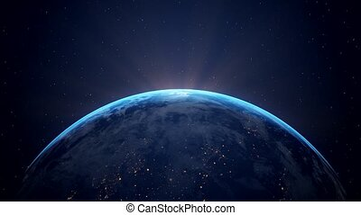Video animation of planet Earth - flying through space -...