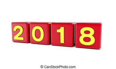 video animation of red cubes with 2018 - 2019 over white...