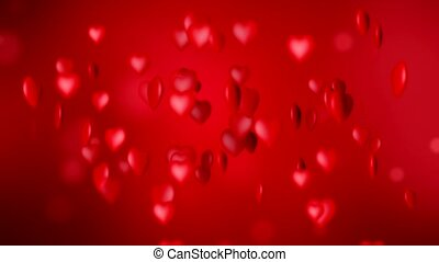 Video animation of red hearts - valentines day