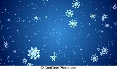Video-animation of snowflakes and stars falling over blue background