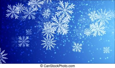 Video-animation of snowflakes falling over blue background