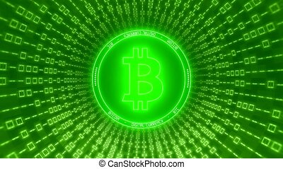 Video animation of the Bitcoin logo in green with a tunnel of binary code
