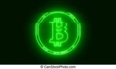 Video animation of the Bitcoin logo in green with glitch...