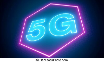 Video animation of the fast 5G mobile network on blue and...