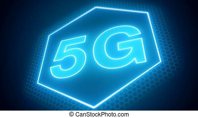 Video animation of the fast 5G mobile network on blue...