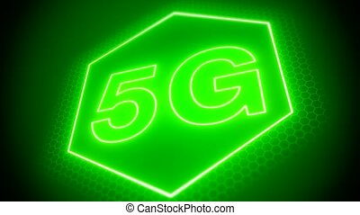 Video animation of the fast 5G mobile network on green...