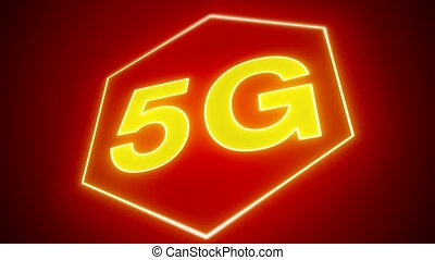 Video animation of the fast 5G mobile network on red...