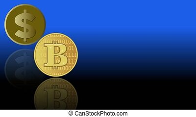 Video animation with bank and finance element. Golden coins...