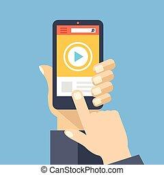 Video app on smartphone screen