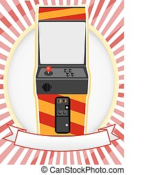 Video Arcade Cabinet Oval Ad Setting - Retro gaming machine ...