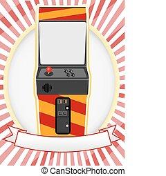 Video Arcade Cabinet Oval Ad Setting - Retro gaming machine...