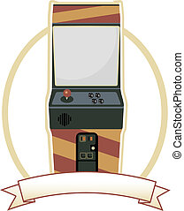 Video Arcade Cabinet Oval Badge - Old fashion gaming machine...