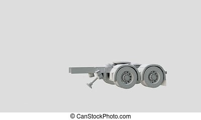 Video assembly 3D truck. 3D rendering animation