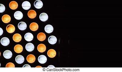 Video bicolor lighting LED close up. Panning slider shot.