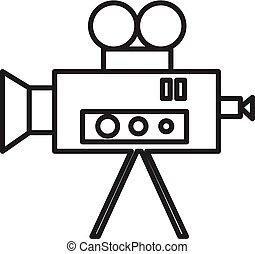 video, biograf, za, kamera, vektor, řádka, ikona, firma, ilustrace, oproti grafické pozadí, editable, mrtvice