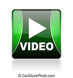 video black and green square web glossy icon