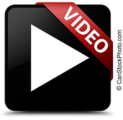Video black square button red ribbon in corner