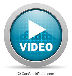video, blauwe , cirkel, web, glanzend, pictogram