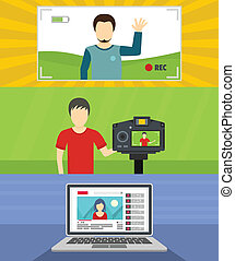 Video blog channel banner concept set, flat style