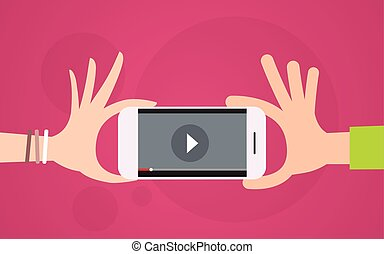 Video Blog Hand Hold Cell Smart Phone Player Flat Vector...