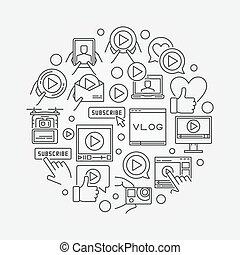 Video blog line illustration