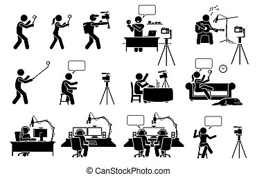 Video blog, vlog, podcast, and live streaming stick figure ...