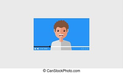 video blogger cartoon man and play record button animation...