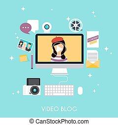 Video blogging concept. Template blogging infographics. Blog...
