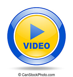 video blue and yellow web glossy round icon