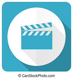 video blue flat icon cinema sign