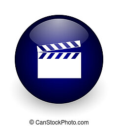 Video blue glossy ball web icon on white background. Round 3d render button.