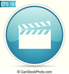 Video blue glossy round vector icon in eps 10. Editable modern design internet button on white background.