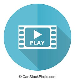 Video blue round flat design vector icon isolated on white background