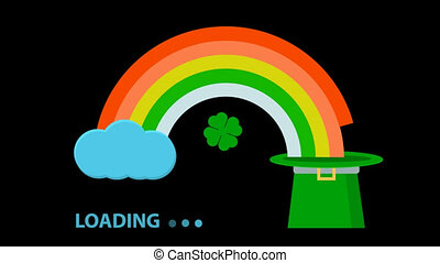 video boot screen with alpha channel without background rainbow from the cloud flows into the cap cylinder leprechaun boot ring in the form of clover leaves for the design