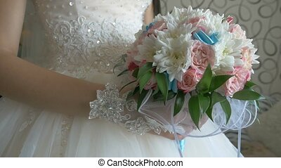 video bridal bouquet of white roses and blue colors in the...