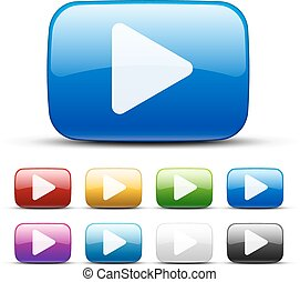 Video buttons - Video vector colored buttons, glossy design