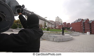 video by crane during the filming