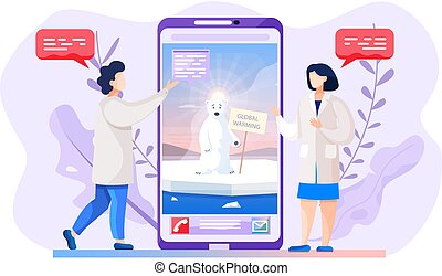 Video call about global warming. Polar bear suffering from glaciers melting on phone screen
