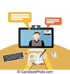 Video call or conference on computer. Web binar or web tutorial concept.