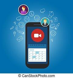Video call schedule business meetings in smartphone