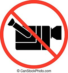 Video cam not allowed, video recording forbidden sign on white