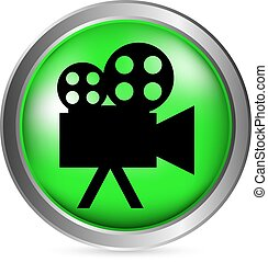 Video camera button on white background. Vector...