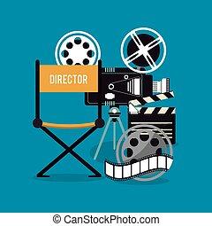 video camera clapboard movie film cinema icon. Vector graphic