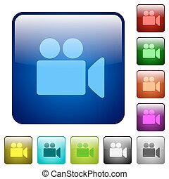 Video camera color square buttons