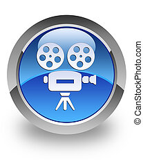 Video camera glossy icon - Video camera icon on glossy blue...