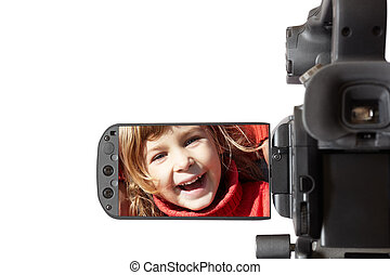 video camera - high end camcorder isolated on white...