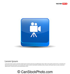 Video camera icon - 3d Blue Button