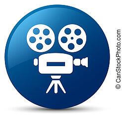 Video camera icon blue round button