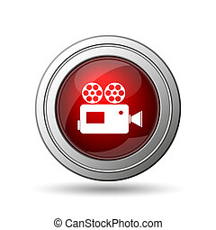 Video camera icon. Internet button on white background.